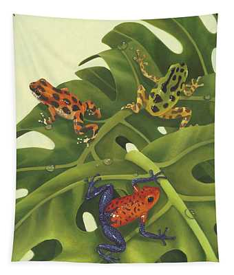 Green Tree Frogs Paintings Wall Tapestries