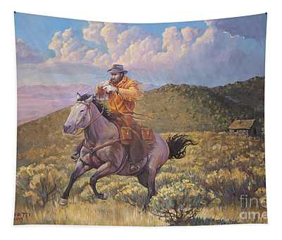 Pony Express Rider At Look Out Pass Tapestry