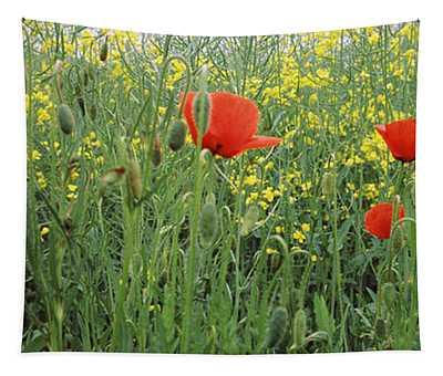 Poppies Blooming In Oilseed Rape Tapestry