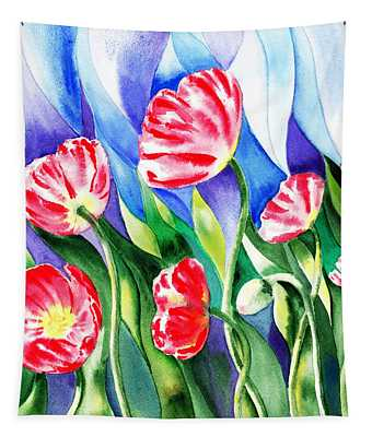 Poppies Field Square Quilt  Tapestry