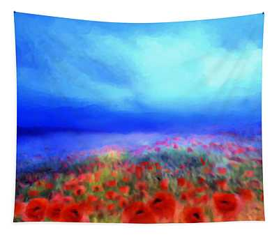 Poppies In The Mist Tapestry