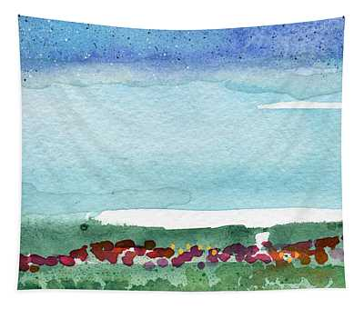 Poppy Field- Landscape Painting Tapestry