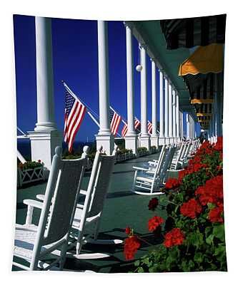 Porch Of The Grand Hotel, Mackinac Tapestry