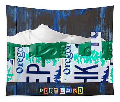 Portland Oregon Skyline License Plate Art Tapestry