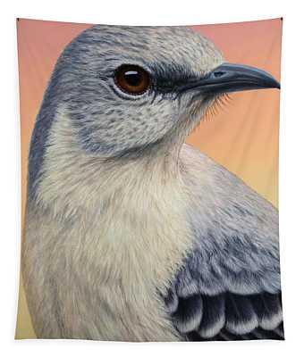 Portrait Of A Mockingbird Tapestry