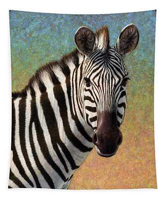 Portrait Of A Zebra - Square Tapestry