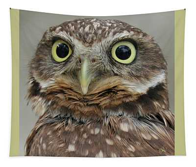 Portrait Of Burrowing Owl Tapestry
