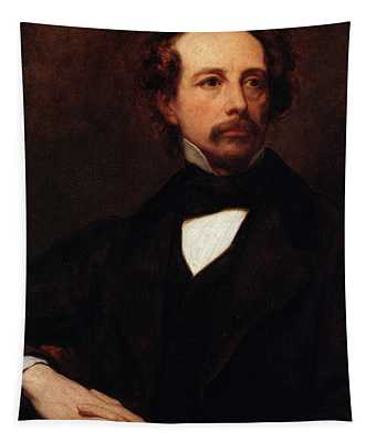 Portrait Of Charles Dickens Tapestry