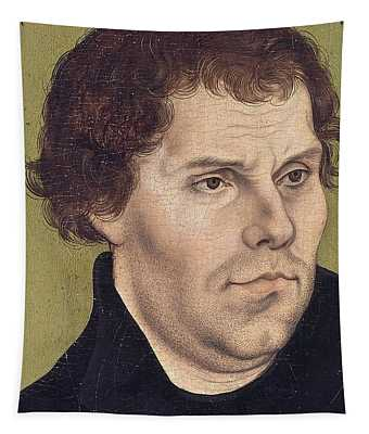 Portrait Of Martin Luther Aged 43 Tapestry