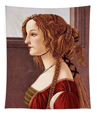 Portrait Of Young Woman By Botticelli Tapestry