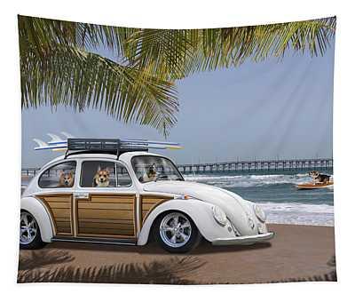 Postcards From Otis - Beach Corgis Tapestry