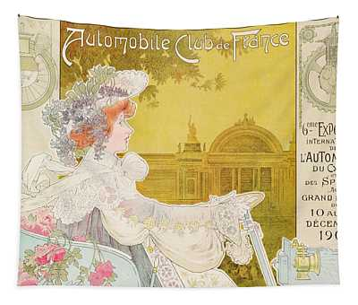 Poster Advertising The Sixth Exhibition Of The Automobile Club De France Tapestry