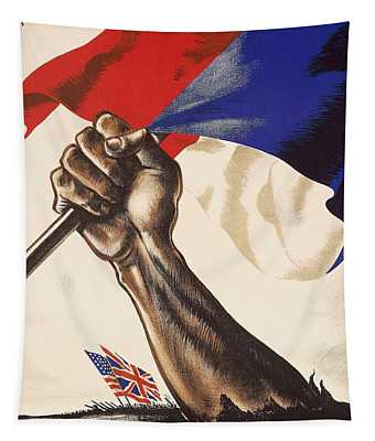 Poster For Liberation Of France From World War II 1944 Tapestry