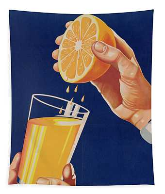Poster With A Glass Of Orange Juice Tapestry