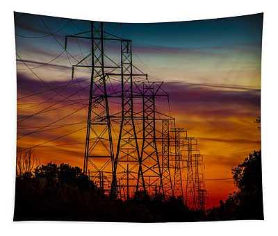 Power Line Sunset West Bloomfield Mi Tapestry