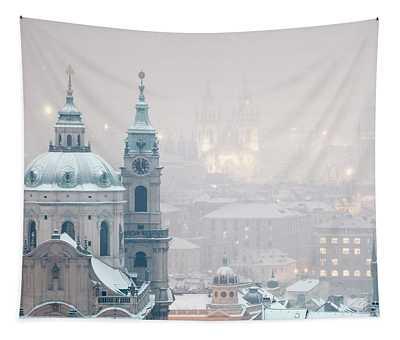 Prague - St. Nicholas Church And Spires Tapestry