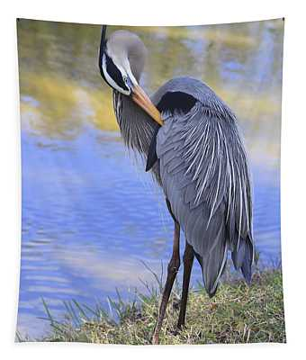 Preening By The Pond Tapestry