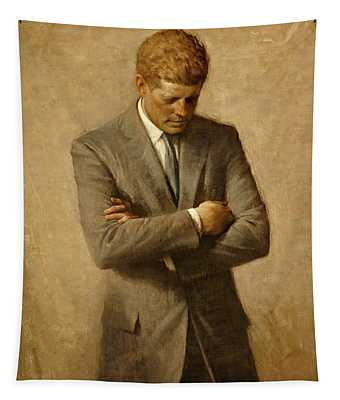 President John F. Kennedy Official Portrait By Aaron Shikler Tapestry