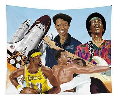 Jimi, Muhammad Ali, Wilt Chamberlain And Mae Carol Jemison Tapestry