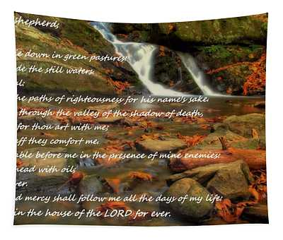 Psalm 23 Autumn Waterfall Tapestry