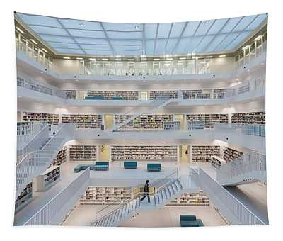 Public Library Stuttgart - Modern Architecture And Lots Of Books Tapestry