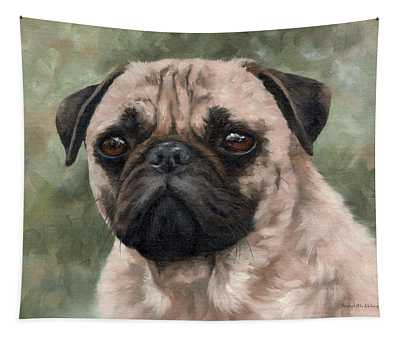Pug Portrait Painting Tapestry