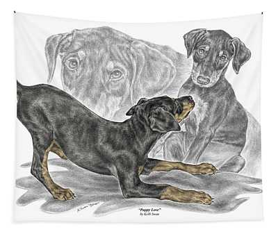 Puppy Love - Doberman Pinscher Pup - Color Tinted Tapestry