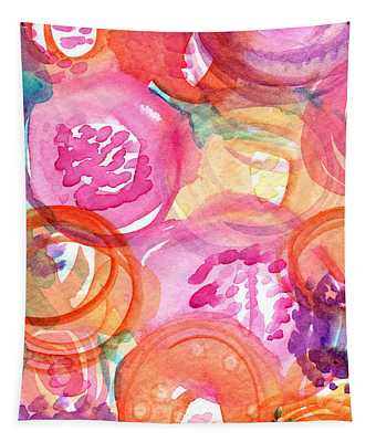 Purple And Orange Flowers Tapestry