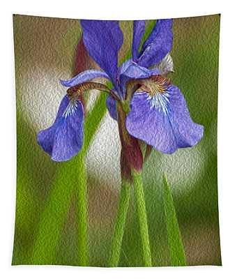 Purple Bearded Iris Oil Tapestry