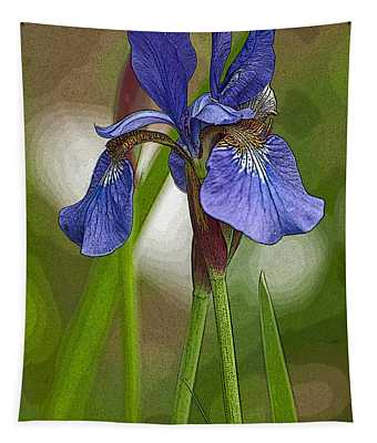 Purple Bearded Iris Watercolor With Pen Tapestry