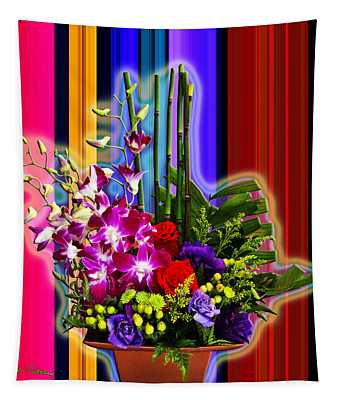 Purple Lady Flowers Tapestry