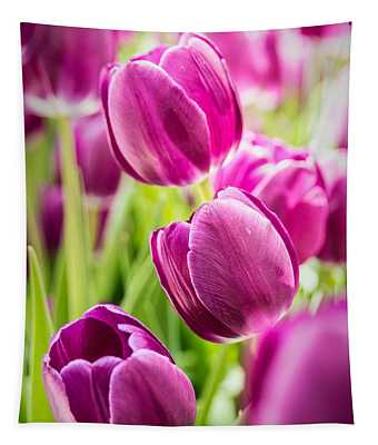 Purple Tulip Garden Tapestry