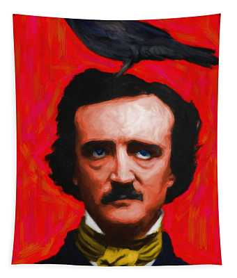 Quoth The Raven Nevermore - Edgar Allan Poe - Painterly - Red - Standard Size Tapestry