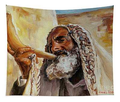 Rabbi Blowing Shofar Tapestry