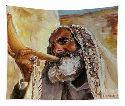 Rabbi Blowing Shofar Tapestry