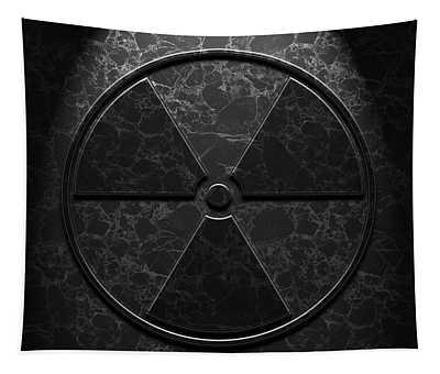 Radioactive Symbol Black Marble Texture Tapestry