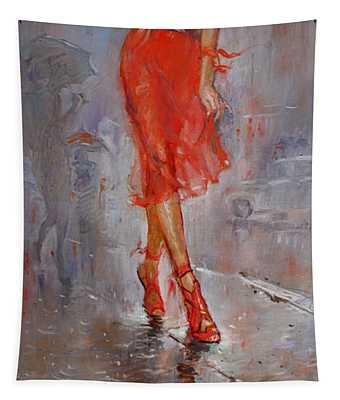 Rain In Manhattan Tapestry