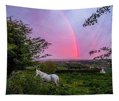 Rainbow At Sunset In County Clare Tapestry