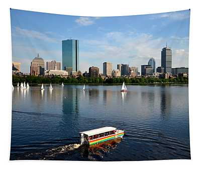 Rainbow Duck Boat On The Charles Tapestry