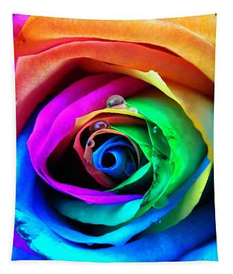 Rainbow Rose Tapestry
