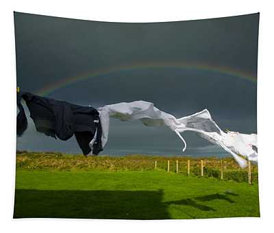 Rainbow, Stormy Sky And Clothes Line Tapestry