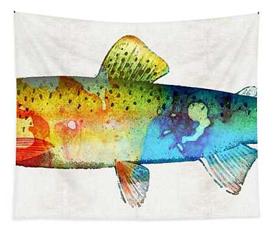Rainbow Trout Art By Sharon Cummings Tapestry