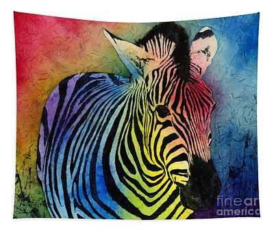 Rainbow Zebra Tapestry