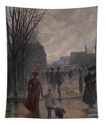 Rainy Evening On Hennepin Avenue Tapestry