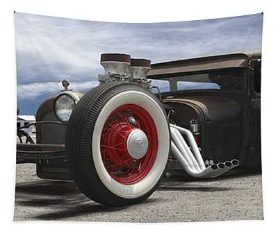 Rat Rod On Route 66 Panoramic Tapestry