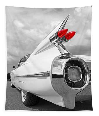 Reach For The Skies - 1959 Cadillac Tail Fins Black And White Tapestry