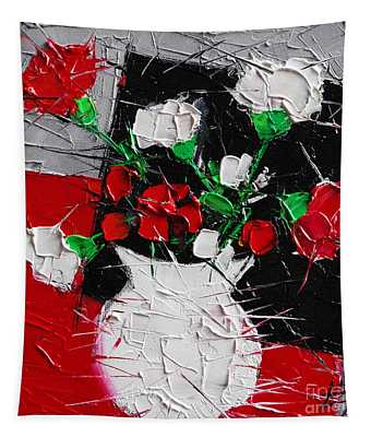Red And White Carnations Tapestry
