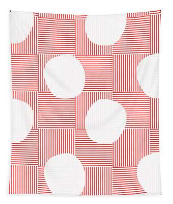 Red And White Poof  Tapestry