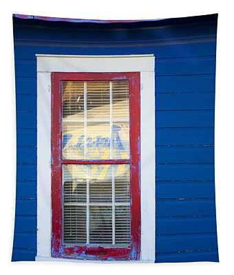 Red And White Window In Blue Wall Tapestry