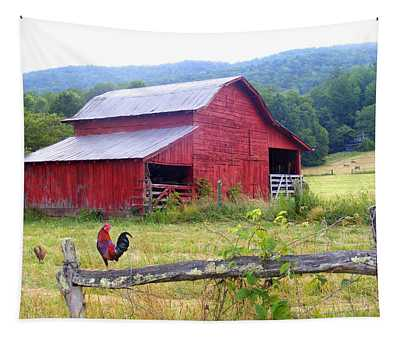 Red Barn And Rooster Tapestry